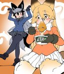 2girls aburaage animal_ears black_gloves black_legwear blonde_hair bow bowtie chopsticks dancing donbee_(food) eating ezo_red_fox_(kemono_friends) food fox_ears fox_tail fur_trim gloves hair_between_eyes highres jacket japari_symbol kemono_friends long_hair long_sleeves looking_at_another multicolored_hair multiple_girls nissin pantyhose pleated_skirt shigurio silver_fox_(kemono_friends) silver_hair sitting skirt tail wariza yellow_eyes