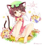 3girls >_< animal_ear_fluff animal_ears artist_name ass bangs bare_legs barefoot blonde_hair bow bowtie breasts brown_hair bug butterfly cat_ears cat_tail chen chibi commentary_request covered_mouth dress earrings eyebrows_visible_through_hair fan flying folding_fan fox_tail full_body green_hat hair_bow hand_up hat hat_ribbon holding holding_fan insect jewelry knees_up long_hair long_sleeves looking_at_viewer mob_cap multiple_girls multiple_tails nekomata open_mouth outstretched_arms petticoat pillow_hat purple_eyes ramudia_(lamyun) red_bow red_dress red_ribbon ribbon shadow shiny shiny_skin shirt short_hair simple_background sitting small_breasts sun_(symbol) tabard tail thighs touhou twitter_username two_tails very_long_hair white_background white_dress white_hat white_shirt wide_sleeves yakumo_ran yakumo_yukari yellow_bow yellow_eyes yellow_neckwear