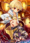 1boy blonde_hair blush chain chest child_gilgamesh fate/grand_order fate/hollow_ataraxia fate_(series) gate_of_babylon hood hoodie jewelry looking_at_viewer magonuri male_focus navel necklace red_eyes shorts smile solo sword weapon