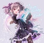 1girl :d black_dress black_ribbon book character_name commentary cowboy_shot cross cross-laced_clothes cross_earrings dated dress drill_hair earrings eyebrows_visible_through_hair feathered_wings frilled_dress frilled_sleeves frills gothic_lolita gradient gradient_background hair_ribbon happy_birthday highres holding holding_book idolmaster idolmaster_cinderella_girls jewelry kanzaki_ranko light_particles lolita_fashion long_hair long_sleeves open_mouth outstretched_arm pantyhose red_eyes ribbon silver_hair smile solo star tsukigami_runa twin_drills twintails wings