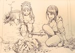 2girls :d bangs bare_legs breasts campfire cleavage commentary eyebrows_visible_through_hair firewood gloves haiokumantan_c hair_intakes high_ponytail highres hino_akane_(idolmaster) hood hood_down hoodie idolmaster idolmaster_cinderella_girls large_breasts lined_paper long_hair looking_at_another looking_down monochrome multiple_girls open_mouth outdoors outstretched_arm pants ponytail reaching sepia shoes shorts sleeves_rolled_up smile traditional_media tree_stump wavy_hair yamato_aki