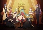3boys 5girls alternate_costume bad_end_night_(vocaloid) blue_eyes brown_hair doll_joints dress everyone formal gothic green_eyes green_hair gumi hair_ornament hair_ribbon hairclip hat hatsune_miku japanese_clothes kagamine_len kagamine_rin kaito kamui_gakupo kimono long_hair maid megurine_luka meiko multiple_boys multiple_girls one_eye_closed ribbon short_hair suit suzunosuke_(sagula) top_hat twintails very_long_hair vocaloid wallpaper