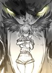 1girl adjusting_clothes adjusting_gloves angry bangs bird collared_shirt commentary cowboy_shot feathers fingerless_gloves floating_hair glaring gloves glowing glowing_eyes guchico hair_between_eyes hair_wings highres kemono_friends looking_at_viewer monochrome necktie pantyhose shirt shoebill shoebill_(kemono_friends) short_hair shorts sketch solo spot_color staring yellow_eyes zoom_layer