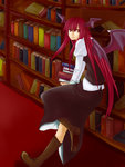 1girl bat_wings book book_stack bookshelf boots commentary_request cross-laced_footwear dress_shirt full_body hair_between_eyes head_wings juliet_sleeves koakuma leg_up long_hair long_sleeves looking_at_viewer looking_back puffy_sleeves red_eyes red_hair segawa_ichiko shirt sidelocks skirt skirt_set solo touhou very_long_hair vest walking white_shirt wings