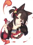 1girl akagi-chan_(azur_lane) animal_ears azur_lane bell between_fingers brown_hair brown_legwear collarbone commentary fox_ears grin hair_bell hair_ornament hair_ribbon hairclip head_tilt highres holding japanese_clothes jingle_bell kimono long_sleeves looking_at_viewer olive_(laai) open_clothes pleated_skirt red_ribbon red_skirt ribbon short_twintails sidelocks simple_background skirt smile solo strapless thighhighs twintails white_background white_kimono wide_sleeves