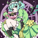 1girl astaroth_(p&d) bow cauchemar_(p&d) demon_girl demon_horns detached_sleeve dress frilled_dress frills green_bow green_dress hairband horns long_sleeves lowres magic_circle outline pentagram pn2_maru puffy_long_sleeves puffy_sleeves purple_eyes purple_ribbon puzzle_&_dragons ribbon short_hair smile solo wings