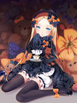 1girl :o abigail_williams_(fate/grand_order) bangs black_bow black_dress black_footwear black_hat black_legwear blonde_hair bloomers blue_eyes blush bow butterfly cup dress fate/grand_order fate_(series) forehead full_body hair_bow hat head_tilt hmniao holding_saucer long_hair long_sleeves looking_at_viewer mary_janes object_hug orange_bow parted_bangs parted_lips polka_dot polka_dot_bow saucer shoes sitting sleeves_past_wrists solo spoon stuffed_animal stuffed_toy teacup teddy_bear thighhighs underwear very_long_hair wariza white_bloomers