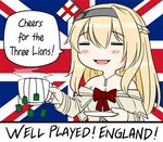 1girl 2018_fifa_world_cup =_= blonde_hair braid closed_eyes commentary dress england english_commentary english_flag english_text flag_background french_braid guin_guin jewelry kantai_collection long_hair long_sleeves necklace off-shoulder_dress off_shoulder red_ribbon ribbon soccer solo tea teabag union_jack united_kingdom warspite_(kantai_collection) world_cup