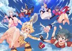 6+girls :q ;d animal_ears animal_hood backpack bag bandaged_leg bandages bare_legs barefoot black_gloves black_hair blonde_hair blue_hair blue_sky blush bow bunny_ears cape casino_(casinoep) cloud condensation_trail convenient_leg crossover crown crown_removed day drawing_tablet dress elbow_gloves eromanga_sensei eyepatch falling fangs feet from_below gloves gochuumon_wa_usagi_desu_ka? green_eyes hair_bow hair_ornament hairclip hat hat_feather hat_removed hayasaka_mirei headwear_removed heart heart_eyepatch helmet highres holding holding_hands holding_staff hood hoto_cocoa idolmaster idolmaster_cinderella_girls interlocked_fingers izumi_sagiri kaban_(kemono_friends) kafuu_chino kemono_friends kemonomimi_mode koharu_yoshino kono_subarashii_sekai_ni_shukufuku_wo! light_rays long_hair megumin multiple_crossover multiple_girls one_eye_closed open_mouth outstretched_arms pink_hair pith_helmet pleated_skirt print_gloves print_skirt purple_hair rabbit_house_uniform red_dress red_shirt sakura_quest serval_(kemono_friends) serval_ears serval_print serval_tail shirt short_hair skirt sky smile soles spread_arms staff stylus sunbeam sunlight tail tippy_(gochiusa) toes tongue tongue_out witch_hat