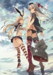 2girls akinashi_yuu amatsukaze_(kantai_collection) ass black_eyes black_panties blonde_hair bow brown_eyes butt_crack cloud cloudy_sky elbow_gloves flat_chest from_behind from_below garter_straps gloves hair_bow hair_ribbon hat kantai_collection looking_at_viewer looking_back multiple_girls open_mouth panties red_legwear rensouhou-kun ribbon shimakaze_(kantai_collection) side-tie_panties silver_hair sky strap_gap string_panties striped striped_legwear suspenders thighhighs thong torn_clothes torn_thighhighs two_side_up underwear water white_gloves