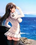 1girl ass azur_lane bangs black_hair black_legwear blue_sky blurry blurry_background blush bow breasts choukai_(azur_lane) cloud dated day eyebrows_visible_through_hair from_side hair_between_eyes hair_ornament hand_up highres large_breasts long_hair long_sleeves looking_at_viewer mappaninatta ocean open_mouth outdoors shirt sidelocks signature skirt sky smile solo thighhighs thighs waves white_shirt