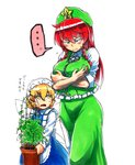 ... 2girls apron beret black_ribbon blue_dress blush braid breast_hold breasts check_translation chinese_clothes commentary dress embarrassed fairy fairy_maid hat hong_meiling koyubi_(littlefinger1988) large_breasts long_hair looking_down maid_apron maid_headdress multiple_girls plant potted_plant red_hair ribbon scar shirt simple_background spoken_ellipsis star sweatdrop tangzhuang touhou translated translation_request twin_braids white_background