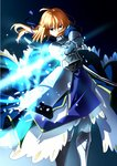 1girl aqua_eyes armor armored_boots armored_dress artoria_pendragon_(all) blonde_hair blue_dress blue_ribbon boots dress fate/stay_night fate_(series) floating_hair gauntlets hair_between_eyes hair_over_mouth hair_ribbon holding holding_sword holding_weapon long_hair ribbon saber sen_(77nuvola) solo standing sword weapon
