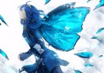 1girl backlighting blue blue_eyes blue_hair butterfly_wings commentary_request crying crying_with_eyes_open fingerless_gloves fire_emblem fire_emblem:_kakusei fire_emblem_heroes from_side gloves glowing glowing_wings gold_trim interlocked_fingers lip_obrie long_hair long_sleeves looking_afar looking_up lucina simple_background solo tears tiara white_background wings