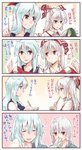 2girls blue_hair blue_hat blush bow bowl brown_eyes chopsticks collared_shirt comic commentary_request eating fujiwara_no_mokou hair_bow hat highres holding holding_bowl holding_chopsticks holding_needle holding_scroll kamishirasawa_keine kitsune_maru long_hair looking_at_another multiple_girls needle red_eyes rice scroll sewing sewing_needle shirt silver_hair smelling_hair sweat touhou translated upper_body