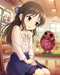 1girl bird bow brown_eyes brown_hair creepy derivative_work hair_bow highres idolmaster idolmaster_cinderella_girls long_hair open_mouth owl photoshop ray-k solo tachibana_arisu