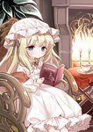 .live 1girl animal_ears blonde_hair blue_eyes book chair commentary expressionless fire fireplace highres lolita_fashion long_hair merry_milk merry_milk_no_mori metk plant plate reading sitting solo tea virtual_youtuber