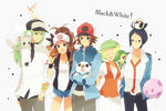 2girls bad_id bad_pixiv_id baseball_cap bel_(pokemon) beret black_vest blonde_hair blue_eyes breasts cheren_(pokemon) dress flipped_hair friends green_hat hat high_ponytail highres iyo_(kirakirahoshi) long_hair medium_hair multiple_boys multiple_girls n_(pokemon) open_mouth oshawott pokemon pokemon_(creature) pokemon_(game) pokemon_bw short_hair smile snivy tepig touko_(pokemon) touya_(pokemon) vest