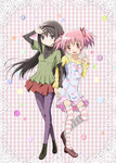 2girls akemi_homura argyle argyle_legwear black_hair casual dress fashion hairband highres kaname_madoka kinfuji long_hair mahou_shoujo_madoka_magica multiple_girls official_style pantyhose pink_eyes pink_hair purple_eyes short_hair striped striped_legwear twintails