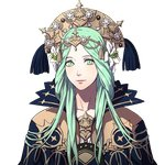 1girl bangs braid cape closed_mouth collarbone commentary dalachi_(headdress) face fire_emblem fire_emblem:_fuukasetsugetsu flower green_eyes green_hair hair_flower hair_ornament hair_over_shoulder high_collar kurahana_chinatsu long_hair looking_at_viewer official_art parted_bangs pink_lips rhea_(fire_emblem:_fuukasetsugetsu) smile solo transparent_background twin_braids upper_body
