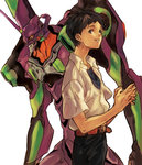 1boy black_hair blue_eyes eva_01 ikari_shinji jeon9018 mecha neon_genesis_evangelion school_uniform