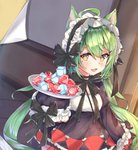 1girl :3 :d ahoge akashi_(azur_lane) animal_ears azur_lane bangs black_bow black_dress black_hairband blush bow breasts brown_eyes cat_ears commentary_request cube dress eyebrows_visible_through_hair frilled_hairband frilled_sleeves frills gem gothic_lolita green_hair hair_between_eyes hairband highres holding holding_plate indoors juliet_sleeves lolita_fashion long_hair long_sleeves looking_at_viewer mishuo_(misuo69421) mole open_mouth plate puffy_sleeves ruby_(stone) sleeves_past_fingers sleeves_past_wrists small_breasts smile solo standing very_long_hair