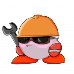 artist_request closed_mouth copy_ability crossover facial_hair facing_viewer full_body goggles hardhat helmet holding holding_wrench kirby kirby_(series) no_humans simple_background solo standing stubble team_fortress_2 the_engineer white_background wrench