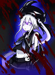 1girl atsushi_(aaa-bbb) blood blood_splatter choker destroyer_hime headgear kantai_collection long_hair looking_at_viewer navel school_uniform serafuku shinkaisei-kan side_ponytail silver_eyes sleeveless solo white_hair white_skin