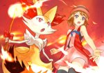 1girl black_legwear blue_eyes botbe braixen brown_hair fire hat no_humans open_mouth pokemon pokemon_(anime) pokemon_(creature) pokemon_(game) pokemon_xy pokemon_xy_(anime) red_eyes serena_(pokemon) short_hair skirt sleeveless solo stick tail thighhighs