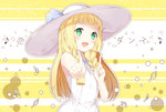 1girl :d armpit_peek bangs bare_shoulders beamed_quavers beamed_semiquavers blonde_hair blue_ribbon blunt_bangs blush braid breasts chitetan collared_dress commentary_request dress green_eyes happy hat hat_ribbon index_finger_raised koi_dance lillie_(pokemon) long_hair looking_at_viewer musical_note open_mouth outline pokemon pokemon_(game) pokemon_sm quaver ribbon simple_background sleeveless sleeveless_dress small_breasts smile solo sun_hat sundress twin_braids upper_body white_dress white_hat white_outline yellow_background