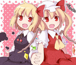 2girls ascot bat blonde_hair fang flandre_scarlet hair_ribbon hat hat_ribbon holding_hands multiple_girls open_mouth red_eyes ribbon rumia shirt short_hair side_ponytail skirt skirt_set smile touhou vest wings yamase