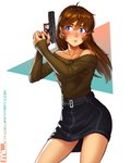 1girl absurdres bare_shoulders belt black_skirt blue_eyes blush breasts brooke_(mathias_leth) brown_hair brown_sweater collarbone commentary english_commentary eyebrows_visible_through_hair freckles glock gun hair_down handgun highres holding holding_weapon long_hair mathias_leth off-shoulder_sweater original ribbed_sweater skirt small_breasts solo sweater trigger_discipline weapon