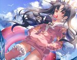 1girl bird black_hair blue_sky bubble_blowing chromatic_aberration cloud crown day dutch_angle earrings fate/grand_order fate_(series) floating_hair fur_collar hair_ribbon hands_in_pockets highres hoop_earrings innertube ishtar_(fate/grand_order) ishtar_(swimsuit_rider)_(fate) jacket jewelry kinty leg_garter long_hair long_sleeves looking_at_viewer outdoors pink_jacket pink_legwear red_eyes ribbon seagull single_thighhigh sky solo swimsuit swimsuit_under_clothes thighhighs twintails unzipped wading water wavy_hair white_swimsuit