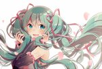 1girl 39 aqua_eyes aqua_hair asagao_minoru bare_shoulders blush commentary detached_sleeves frilled_sleeves frills hair_ribbon hatsune_miku highres holding holding_hair huge_filesize long_hair looking_at_viewer nail_polish petals ribbon shirt shoulder_tattoo sleeveless sleeveless_shirt smile solo tattoo twintails upper_body very_long_hair vocaloid white_background