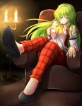 1girl aka_tawashi ascot bangs black_footwear blush breasts candle candlestand commentary_request couch eyebrows_visible_through_hair fire full_body green_eyes green_hair hair_between_eyes half-closed_eyes high_heels highres indoors juliet_sleeves kazami_yuuka kazami_yuuka_(pc-98) large_breasts long_hair long_sleeves looking_at_viewer pants plaid plaid_pants puffy_sleeves red_pants red_vest shadow shirt shoes sitting smile solo touhou touhou_(pc-98) very_long_hair vest white_shirt wing_collar yellow_neckwear