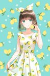 1girl :q bangs blue_eyes brown_hair collarbone cowboy_shot dress earrings eyebrows_visible_through_hair food fruit fruit_background hair_ribbon hiten_(hitenkei) holding jewelry lemon lemon_print lemon_slice looking_at_viewer original print_dress print_ribbon ribbon short_hair sleeveless sleeveless_dress smile solo standing tongue tongue_out