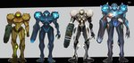 1girl alternate_form arm_cannon border claws commentary_request dark_samus dual_persona full_body glowing glowing_armor glowing_eyes highres light_suit looking_at_viewer metroid metroid_prime_2:_echoes power_armor reflection samus_aran standing teke varia_suit weapon