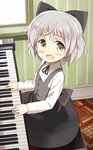 1girl blush child dress glastonbury1966 green_eyes hair_ribbon instrument looking_at_viewer piano ribbon sanya_v_litvyak short_hair silver_hair sitting smile solo strike_witches younger