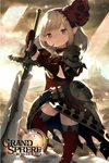 1girl :3 armor belt black_gloves boots brown_eyes brown_hair character_request cloud commentary_request dress gloves grand_sphere hairband highres kishibe light_rays long_hair official_art outdoors pointy_ears red_dress red_legwear sky smile solo sword thigh_boots thighhighs weapon