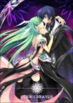 1boy 1girl black_hair black_legwear c.c. cape code_geass couple creayus detached_sleeves dress frills green_hair hetero hug jewelry lelouch_lamperouge long_hair purple_eyes short_hair space star thighhighs topless yellow_eyes