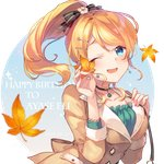 1girl ;d ayase_eli bangs black_bow black_choker blonde_hair blue_eyes blush bow breasts brown_jacket character_name choker collarbone dress eyebrows_visible_through_hair fingernails flower frilled_dress frills green_dress hair_bow hair_flower hair_ornament hand_on_own_chest hands_up happy_birthday head_tilt high_ponytail holding holding_leaf jacket leaf long_hair love_live! love_live!_school_idol_project medium_breasts one_eye_closed open_mouth ponytail shinia smile solo striped striped_bow upper_body white_flower