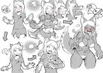 bikini breast_expansion breasts commentary costume furry halloween highres mokushi-c3 swimsuit torn_clothes transformation werewolf