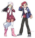 1boy 1girl absurdres adjusting_headwear arm_up artist_name backpack bag beanie black_eyes black_hair black_pants blue_eyes blue_jacket boots bracelet bumbum_hico coat duffel_bag flat_chest full_body grey_footwear hair_ornament hairclip hand_up happy hat highres hikari_(pokemon) holding jacket jewelry kouki_(pokemon) long_hair long_sleeves open_mouth outstretched_arm pants pink_footwear poke_ball_symbol poke_ball_theme pokemon pokemon_(game) pokemon_dppt pokemon_platinum red_coat red_hat red_shirt scarf shirt short_hair simple_background smile standing teeth thighhighs twitter_username waving white_background white_hat white_legwear white_scarf winter_clothes