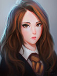 1girl backlighting blush brown_eyes brown_hair eyelashes eyeliner grey_background harry_potter hermione_granger highres hogwarts_school_uniform lips long_hair looking_at_viewer makeup necktie nguyen_uy_vu nose parted_lips portrait realistic school_uniform simple_background solo