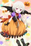 1girl boots demon_wings highres long_hair pumpkin_costume purple_eyes screencap silver_hair sophie_twilight source_request stitched third-party_edit tonari_no_kyuuketsuki-san wings