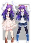 2girls alternate_costume animal_ears bespectacled black-framed_eyewear black_legwear blue_boots boots brown_boots bunny_ears carrot carrot_necklace contemporary cosplay cross-laced_footwear dress dual_persona full_body glasses grey_background highres hood hoodie inaba_tewi inaba_tewi_(cosplay) ishimu jacket jewelry lace-up_boots long_hair long_sleeves looking_at_viewer looking_to_the_side multiple_girls necklace pantyhose purple_hair red_eyes reisen_udongein_inaba see-through shorts simple_background touhou