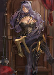 1girl axe black_legwear boots breasts camilla_(fire_emblem_if) crossed_legs elbow_gloves fire_emblem fire_emblem_if gloves greaves grin large_breasts lips long_hair looking_at_viewer purple_eyes purple_hair sitting smile solo thigh_boots thighhighs throne weapon