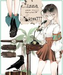 1girl antique_telephone bangs bird bird_request black_footwear blonde_hair brown_gloves brown_skirt buttons character_name character_profile character_sheet collared_shirt cross-laced_footwear gloves gloves_removed gradient_hair green_eyes high-waist_skirt highres holding holding_phone long_hair long_sleeves looking_at_viewer luggage multicolored_hair multiple_views naruwe nightstand original palm_tree phone puffy_long_sleeves puffy_sleeves raven_(animal) safety_pin shirt sidelocks skirt straight_hair tree watch white_shirt wristwatch