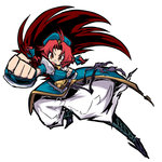 1girl bandaid bandaid_on_nose braid clenched_hand fighting_stance foreshortening hat hong_meiling ichigatsu_toshikazu long_hair open_mouth red_eyes red_hair simple_background solo touhou twin_braids white_background