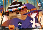1girl akatsuki_no_yona aki_nattsu black_legwear black_nails boots cape checkered checkered_floor hair_between_eyes hak_(akatsuki_no_yona) happy_halloween hat highres looking_at_viewer lying multicolored multicolored_nails nail_polish neck_ribbon on_stomach orange_nails pumpkin_hat_ornament purple_cape purple_eyes purple_footwear purple_hat red_hair red_ribbon ribbon short_hair solo the_pose witch_hat yona_(akatsuki_no_yona)